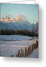 A Winter Scene Of A Snowy Field, Fence Greeting Card