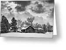 A Winter Sky - Oil Bw Greeting Card