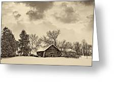 A Winter Sky Sepia Greeting Card