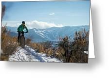 A Woman Fat Biking On The Trails Greeting Card