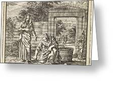 A Woman Fills A Bucket Of Water On A Jetty Greeting Card