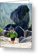 A Woman Hiking High In The Mountains Greeting Card