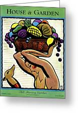 A Woman Holding A Basket Of Fruit Greeting Card