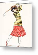 A Woman In Full Swing Playing Golf Greeting Card
