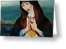 A Woman In Prayer Greeting Card by Joseph Demaree
