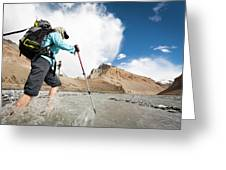 A Woman Is Crossing A River, Spiti Greeting Card