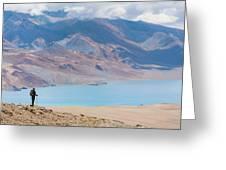 A Woman Is Hiking Toward Tsomoriri Greeting Card