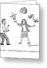 A Woman Juggles Two Children And A Briefcase Greeting Card