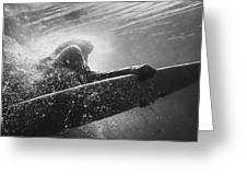 A Woman On A Surfboard Under The Water Greeting Card
