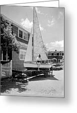 A Woman On Sailboat At Home Greeting Card