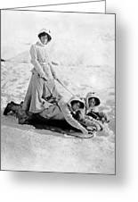 A Woman Rides On Two Friends Greeting Card
