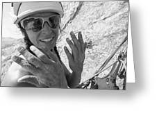 A Woman Rock Climber In Titcomb Basin Greeting Card