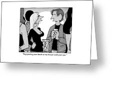 A Woman Speaks To A Man At A Cocktail Party Greeting Card