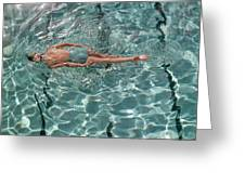 A Woman Swimming In A Pool Greeting Card