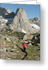 A Woman Trail Running In The Cirque Greeting Card