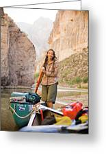 A Woman Unloads Gear From Her Canoe Greeting Card