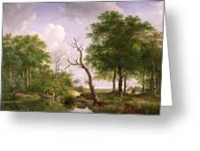 A Wooded River Landscape With Sportsmen In A Rowing Boat Greeting Card