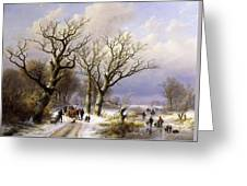 A Wooded Winter Landscape With Figures Greeting Card