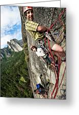 A Young Boy And Climbers In Yosemite Greeting Card