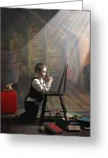 A Young Boy Praying With A Light Beam Greeting Card