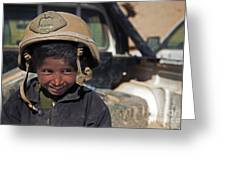 A Young Boy Wears A Coalition Force Greeting Card