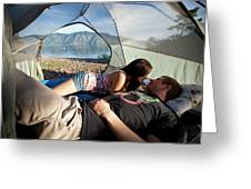 A Young Couple Camping Talk Greeting Card