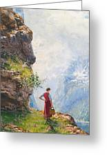 A Young Girl By A Fjord Greeting Card