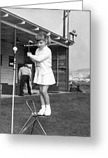 A Young Girl Hits A Golf Ball Greeting Card