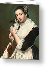 A Young Lady With Two Dogs Greeting Card