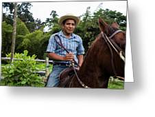 A Young Man Sits On A Horse And Smiles Greeting Card