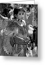 A Young Warrior - B W Greeting Card