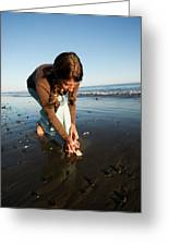 A Young Woman Collects Seashells Greeting Card