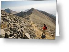 A Young Woman Hikes Borah Peak Greeting Card