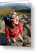 A Young Woman Hiking On Cadillac Greeting Card