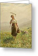 A Young Woman In The Meadow Greeting Card