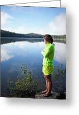 A Young Woman Looks Out Over Unna Lake Greeting Card