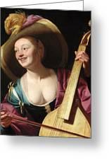 A Young Woman Playing A Viola Da Gamba Greeting Card