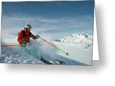 A Young Woman Skis The Backcountry Greeting Card