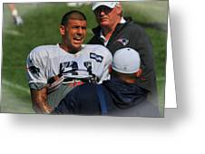 Aaron Hernandez With Patriots Coaches Greeting Card