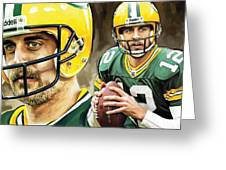 Aaron Rodgers Green Bay Packers Quarterback Artwork Greeting Card