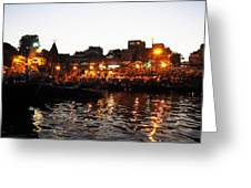 Aarti At Dashashwamedh Ghat 2 Greeting Card