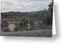 Abandon Stone House And Steeple  Greeting Card
