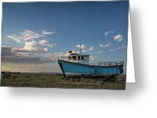 Abandoned Fishing Boat Digital Painting Greeting Card
