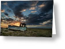 Abandoned Fishing Boat Sunset Landscape Digital Painting Greeting Card by Matthew Gibson