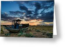 Abandoned Fishing Boatsunset Landscape Digital Painting Greeting Card by Matthew Gibson