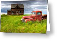 Abandoned Homestead House And Red Greeting Card