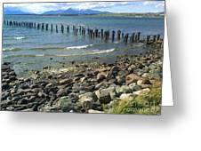 Abandoned Old Pier In Puerto Natales Chile Greeting Card