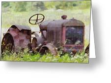 Abandoned Tractor On The Farm Greeting Card