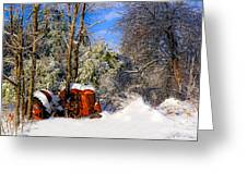 Abandoned Winter Tractor Greeting Card