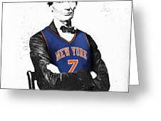 Abe Lincoln In A Carmelo Anthony New York Knicks Jersey Greeting Card